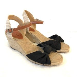 Lucky Brand Espadrille Wedge Sandals Tan Black 10B